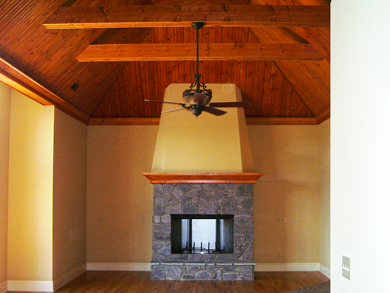 Custom Ceiling & Stone Fireplace